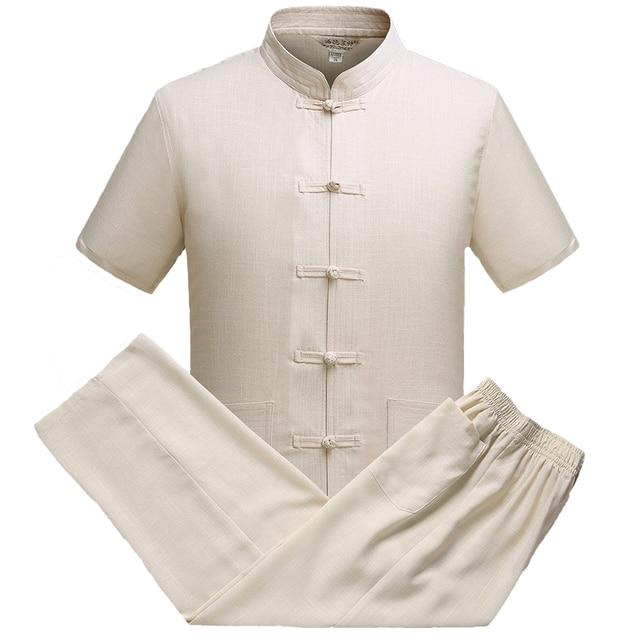 Traditional Chinese Kung Fu Shirt&Pant Loose Mandarin Collar Single Breasted Oriental Men Tang Suit Casual Tai Chi Clothes M-3XL