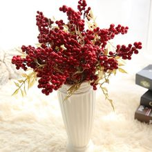 Red Berry Artificial Flower Fake berries Christmas Flower DIY Home Christmas Decoration New Year's decor Artificial Berry mary berry at home
