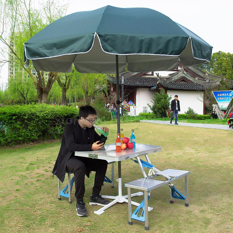 Outdoor folding table and chairs portable multi-function aluminum alloy one-piece picnic table push propaganda stall table(China)