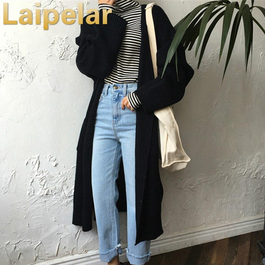 Harajuku Long Cardigan Ladies 2018 Spring Fashion Long Knit Sweater Women Large Coat Casual Black Jacket Winter Clothing Autumn