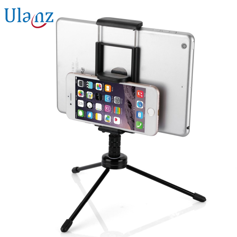 2-in-1 Phone Tablet Tripod with Mount Adapter Universal Tablet/Phone Clamp Holder for iPad Air Mini Pro iPhone Samsung universal cell phone holder mount bracket adapter clip for camera tripod telescope adapter model c