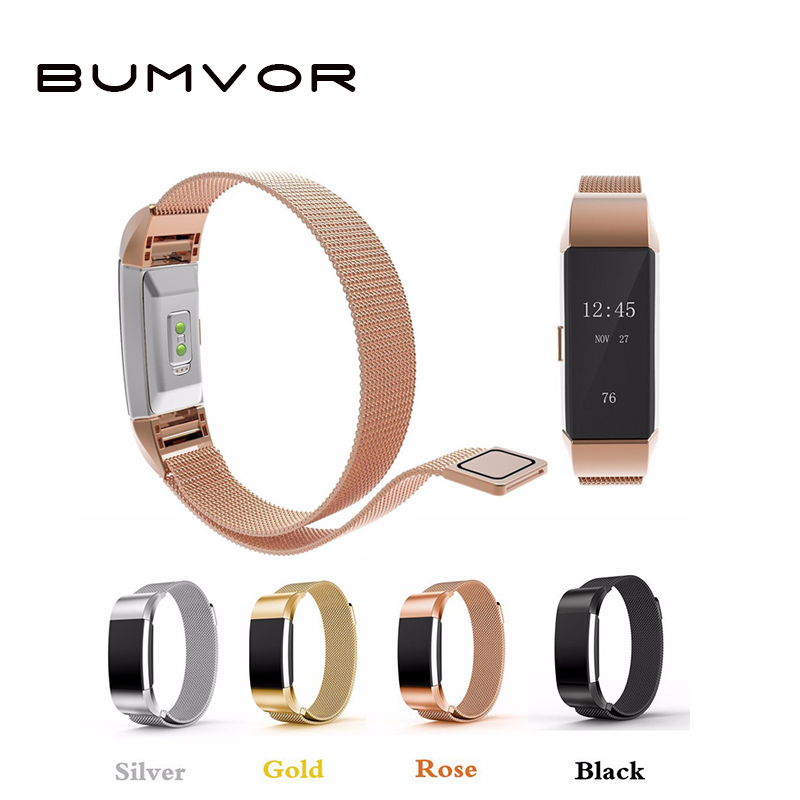 BUMVOR Milanese Loop for Fitbit Alta Watch band strap Stainless Steel Link Bracelet Watchband Women Men Rose Pink Gold Silver