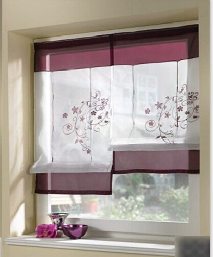 1pc embroider flower short sheer curtains for living room kitchen