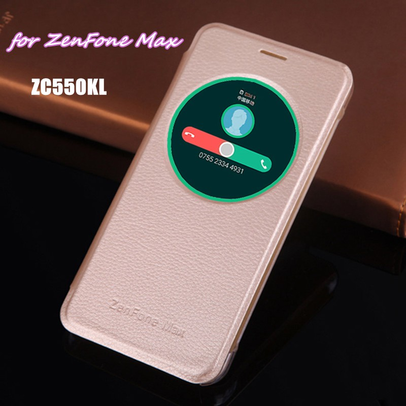 Smart View Auto Sleep Wake Up Phone Bag Leather Case Circle Window Flip Cover Magnetic Mask Holster For Asus Zenfone Max ZC550KL
