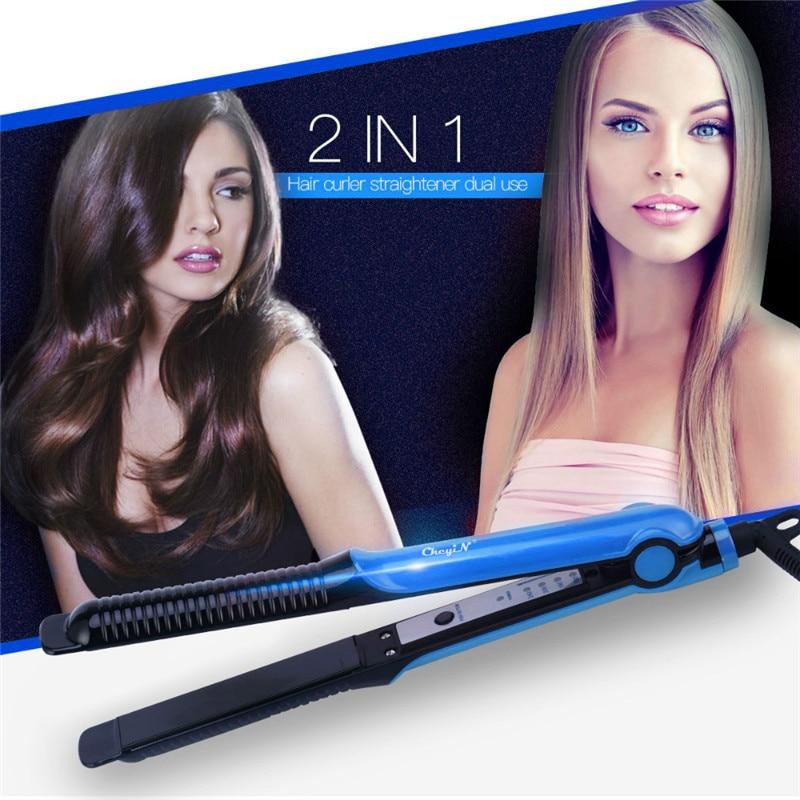 2 in 1 Hair Straightener Flat Iron Aluminum Panels Plate PTC Rapid Heating Hair Curler Temperature Adjustable Hair Styling Tools
