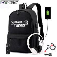 Strang Things mochila para estudiantes con carga USB y antirrobo, mochila para niños y niñas, mochila para el colegio de tela