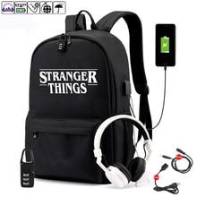 Strang coisas estudante mochila com carregamento usb e anti roubo características mochila para meninos menina de volta à escola lona mochila