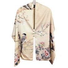 الخريف وشاح حريري النساء الشتاء موضة النمط الصيني الحرير طباعة وشاح باشيمينا Ari حلقة الأوشحة النساء الإكسسوارات 170X46cm TT395