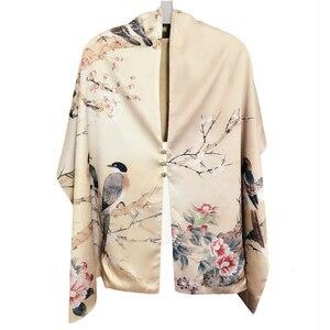 Image 1 - Осенний шелковый шарф женский зимний модный Шелковый шарф в китайском стиле с принтом пашимина Ари кольцевые шарфы женский аксессуар 170X46cm TT395