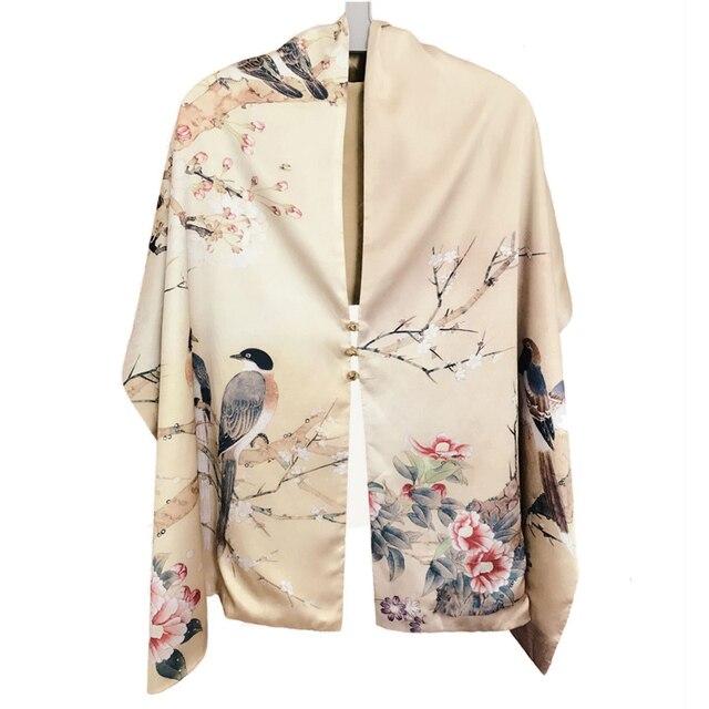 Осенний шелковый шарф женский зимний модный Шелковый шарф в китайском стиле с принтом пашимина Ари кольцевые шарфы женский аксессуар 170X46cm TT395