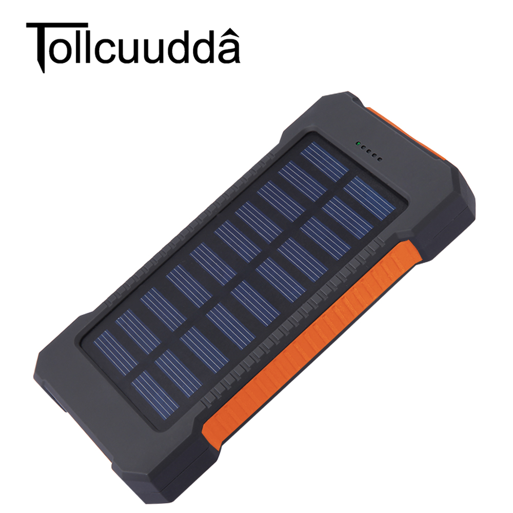 bilder für Tollcuudda Tragbare Reise Solar Power Bank 10000 mAh Dual USB Solar Externes Ladegerät powerbank Für Alle Handys