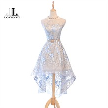 LOVONEY Evening Dresses 2017 New Arrival High Low Embroidery Short Party Dresses Formal Dress Women Evening Gown XYG701