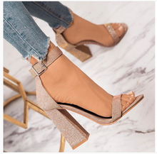 Liren 2019 Summer Fashion Casual Sexy Lady Sandals Gladiator Women High Square Heels Pointed Open Toe