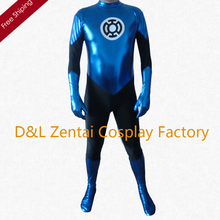 Free Shipping DHL Custom Made Sexy Shiny Metallic Blue Lantern Costume Adult Zentai Catsuit For 2016