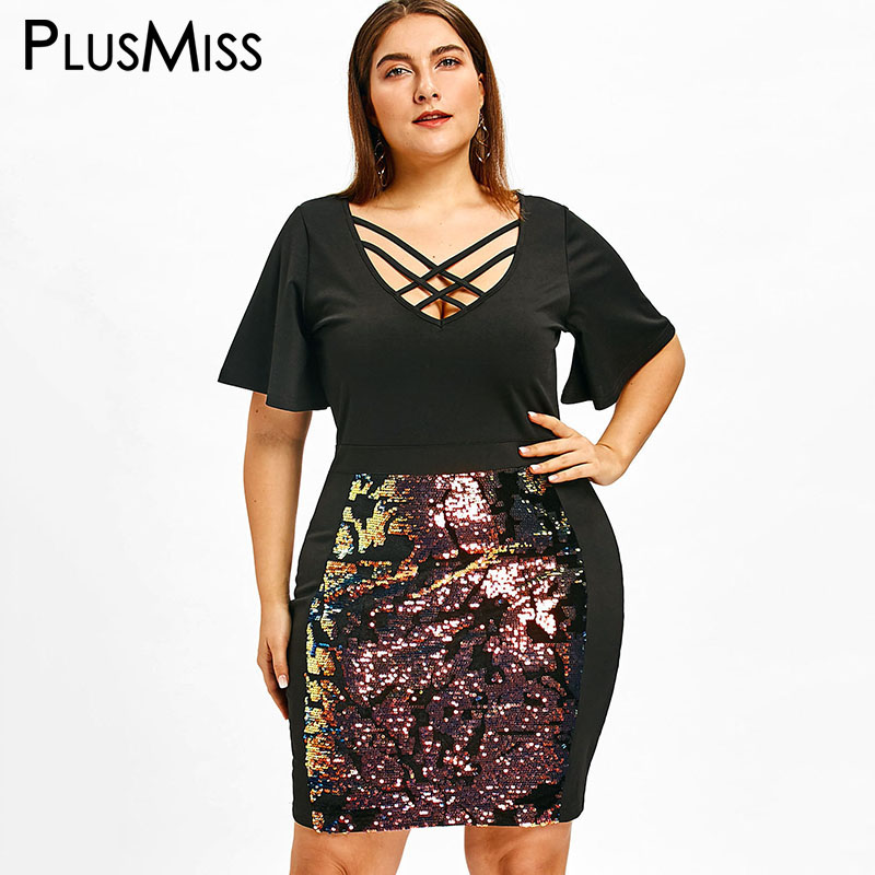 PlusMiss Plus Size 5XL Sexy Lace Up Sequin Mini Short Dress Women Clothes Bodycon Night Party Dresses Club Wear Big Size Summer