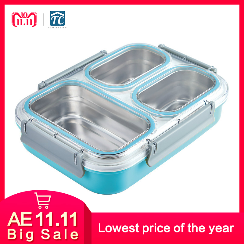 304 Stainless Steel Grid Large Capacity Insulated Lunch Box Insulation Non slip Anti scalding Student Adult Portable Picnic