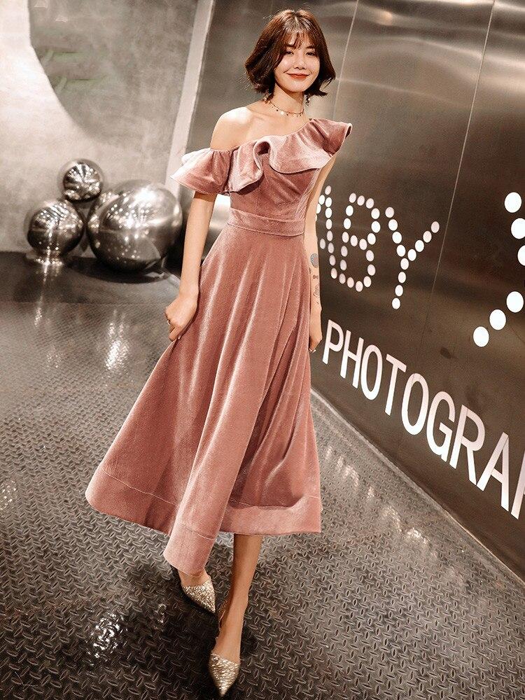 Weiyin 2019 nouveauté Sexy une épaule velours robes de soirée coupe courte formelle robes de soirée Robe Soiree WY1379 - 2
