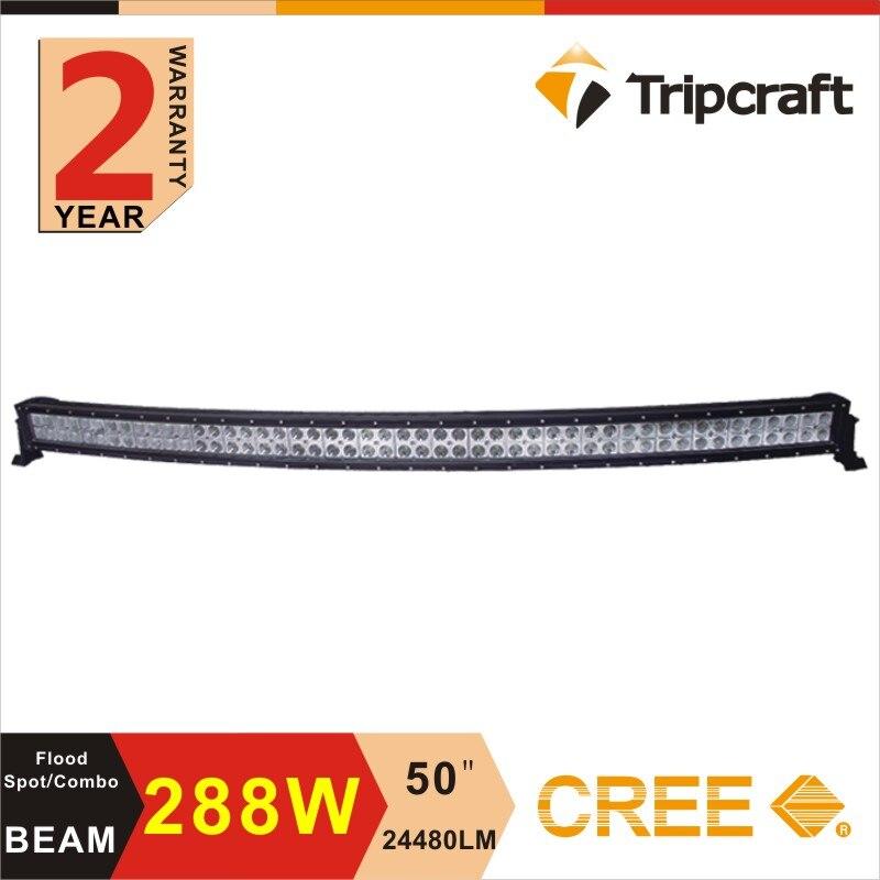 50inch 288W Super bright LED off road light bar Curved LED Work Light Bar Spot Flood beam ffroad Truck 4x4 ATV LED Ramp Lamp