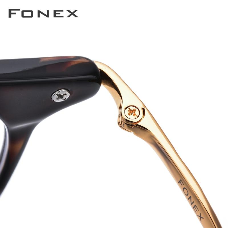B titane acétate optique lunettes cadre hommes Vintage Prescription lunettes 2019 femmes rétro ronde myopie lunettes de vue 857 - 4