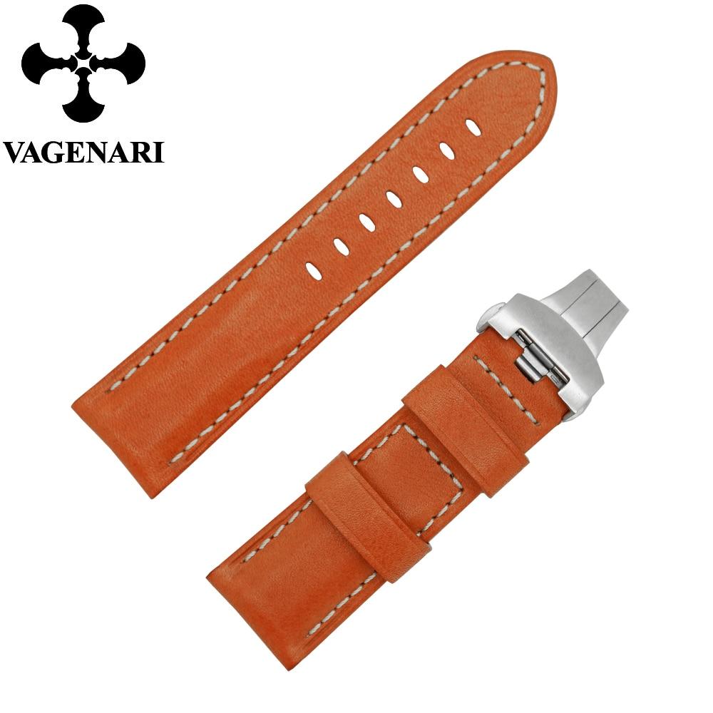 D394 Fashion Orange Italy Genuine Leather Watch Strap 24/22mm Watchband abitu d italy pубашка