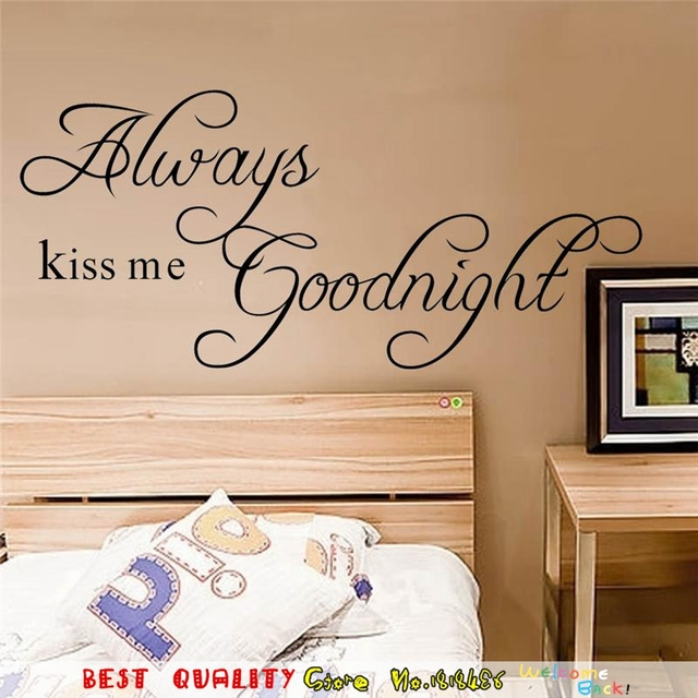 Always Kiss Me Good Night Wall Stickers Kids Bedroom Decoration English  Letter Black Words Wall Paste Part 61