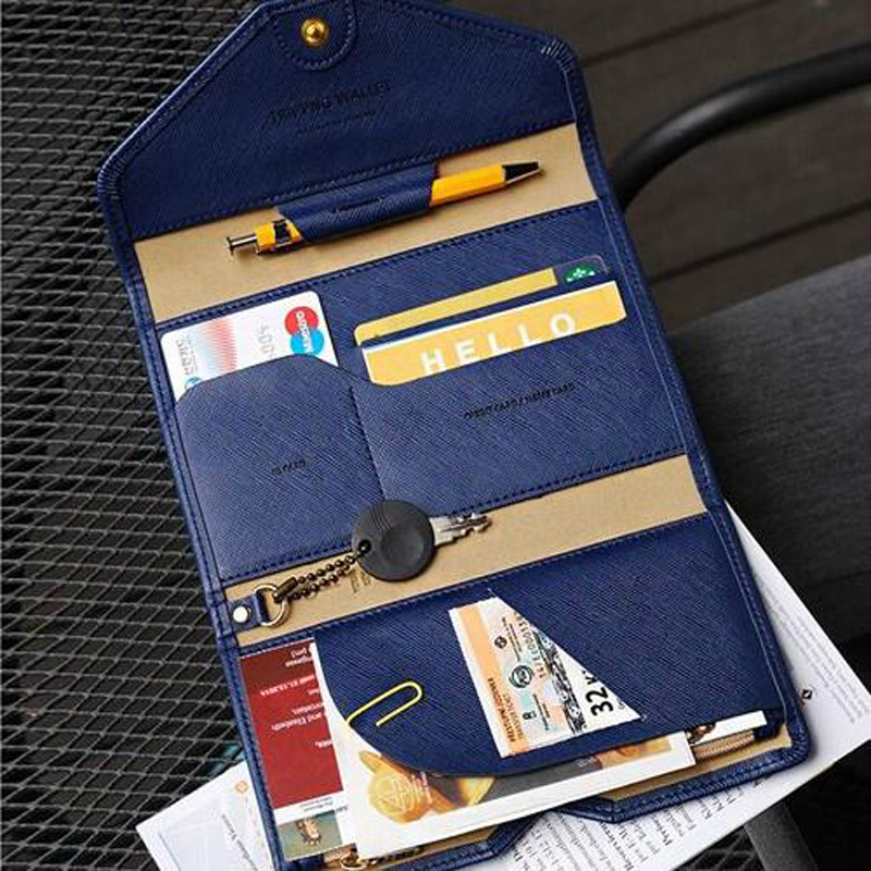 Multi functional thin soft PU short passport bag men and women travel documents package  ...