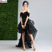 2017 New Personality Off The Shoulder Front Short And Long Back Black Prom Dress Sexy Black