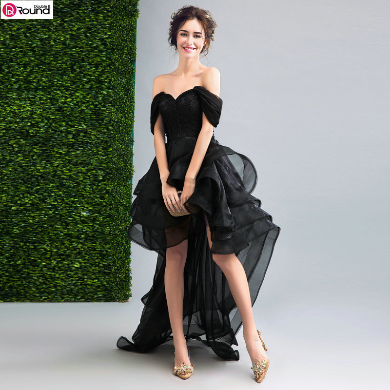 Special Offer~ Personality Off the Shoulder Front Short and Long Back Black Wedding Dress 799