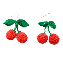 цена на Earrings with a simple weave of red cherry earrings and sweet long earrings  Knit cherry earring