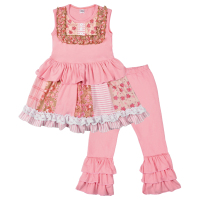 Hot Pink Baby Girls Summer Clothing Sets Patchwork Sleeveless Dress Ruffles Pants Boutique Kids Boutique Sets