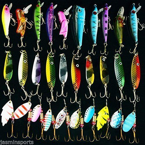 Hyaena 30pcs/lot Mixed Color/Size/Weight Spinner Metal Spoon Spinnerbaits CrankBait Hard Artificial Lures Fishing Lure Kits 30pcs lot nk30 4 fake fishing lures spoon lure set hardbait metal fishing lure artificial spinner hard bait for sea carp fishing