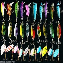 Hyaena 30pcs lot Mixed Color Size Weight Spinner Metal Spoon Spinnerbaits CrankBait Hard Artificial Lures Fishing