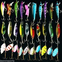 Hyaena 30pcs/lot Mixed Color/Size/Weight Spinner Metal Spoon Spinnerbaits CrankBait Hard Artificial Lures Fishing Lure Kits