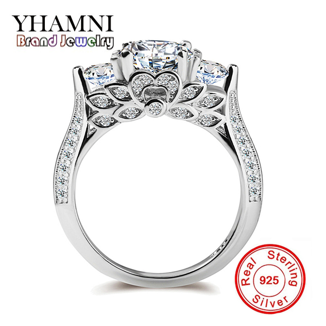 Yhamni Genuine Pure Silver Wedding Rings For Women Unique Flower Shape Set Sona Cz Diamant Engagement