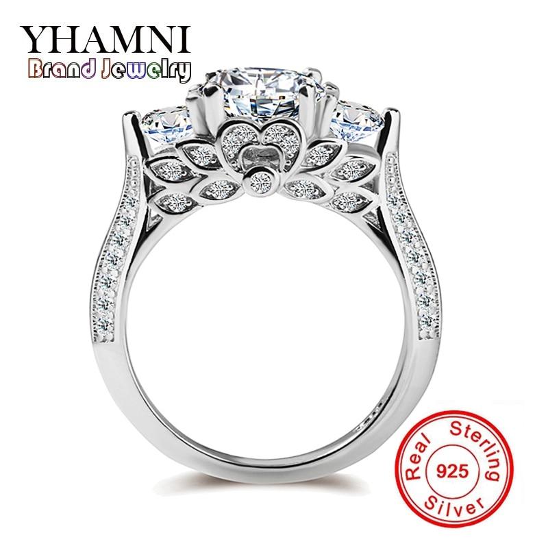YHAMNI Genuine Pure Silver Wedding Rings
