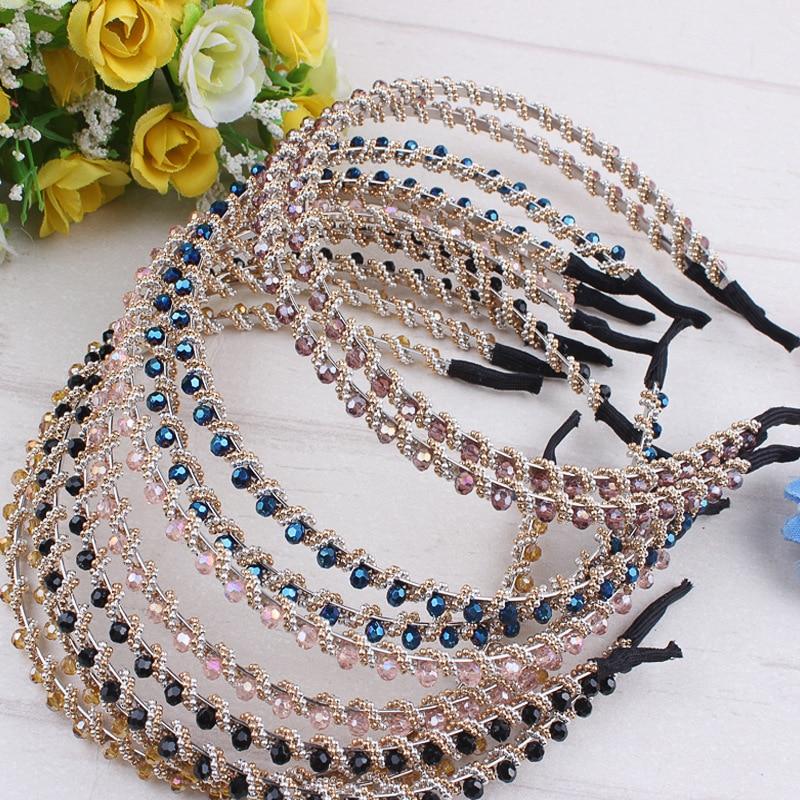 Fashion Women Handmade Headband Flower Metal Crystal Beads Hairbands Hair Clasp   Headwear   Girls Hair Accessories