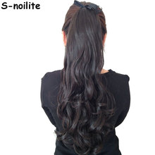 Long Women Ribbon Ponytails Long Straight Hair Pieces Synthetic Hair 125g Wrap on Hairpiece Clip In Ponytail Multicolors