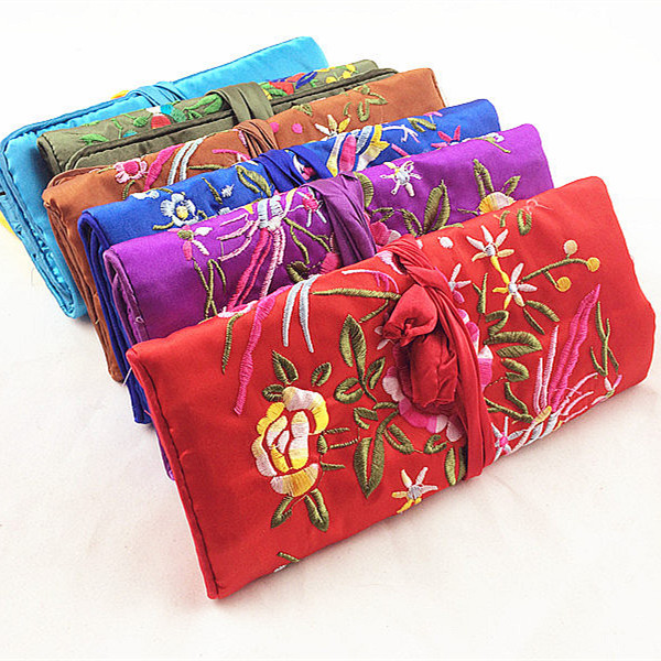 Embroidery flower birds silk jewelry travel roll bag large cosmetic embroidery flower birds silk jewelry travel roll bag large cosmetic bag zipper drawstring makeup pouch bags for jewelry in party favors from home garden negle Images