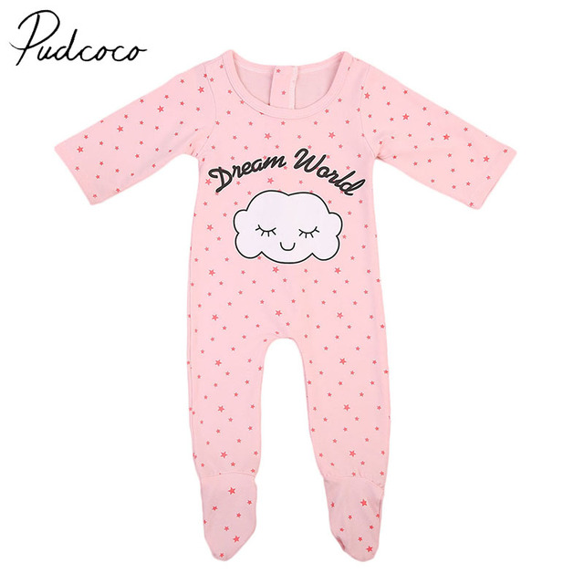 1a017a541 PUDCOCO Brand Cotton Blend Cute Cloud Newborn Baby Girls Sleepwear ...
