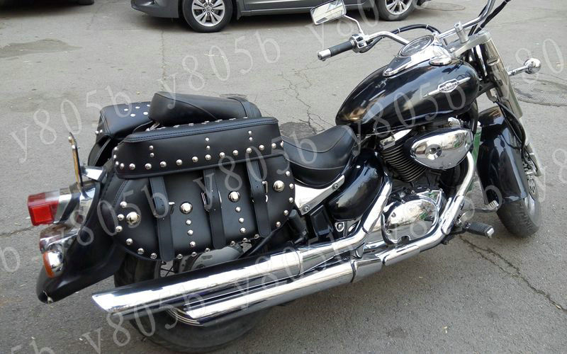 Black Rivet Side Bag Saddle Bags For Motorcycle Street Bike Dual