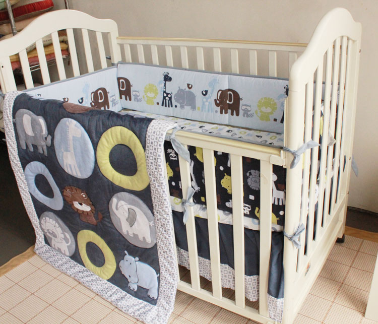 Promotion! 7PCS embroidery Infant Crib Bedding Set 100% Cotton Baby Bumpers Set ,include(bumper+duvet+bed cover+bed skirt) discount 7pcs embroidery crib bedding bumper set infant nursery set baby bedding set include bumpers duvet bed cover bed skirt