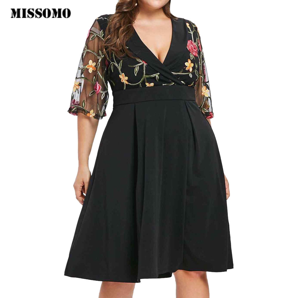 MISSOMO 5XL Women Casual Floral Short Sleeve Lace Hollow Out Plus Size 5XL Solid Applique V-Neck Dress Women Vestidos