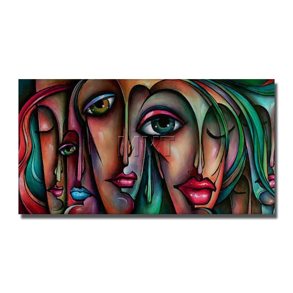 Main peinture abstraite visages filles nues sexe image peinture à l'huile moderne accueil decorof nude photo femmes et anmal