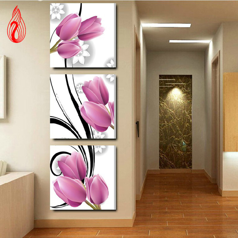 Triptych painting reviews online shopping triptych for Best brand of paint for kitchen cabinets with cross stitch wall art