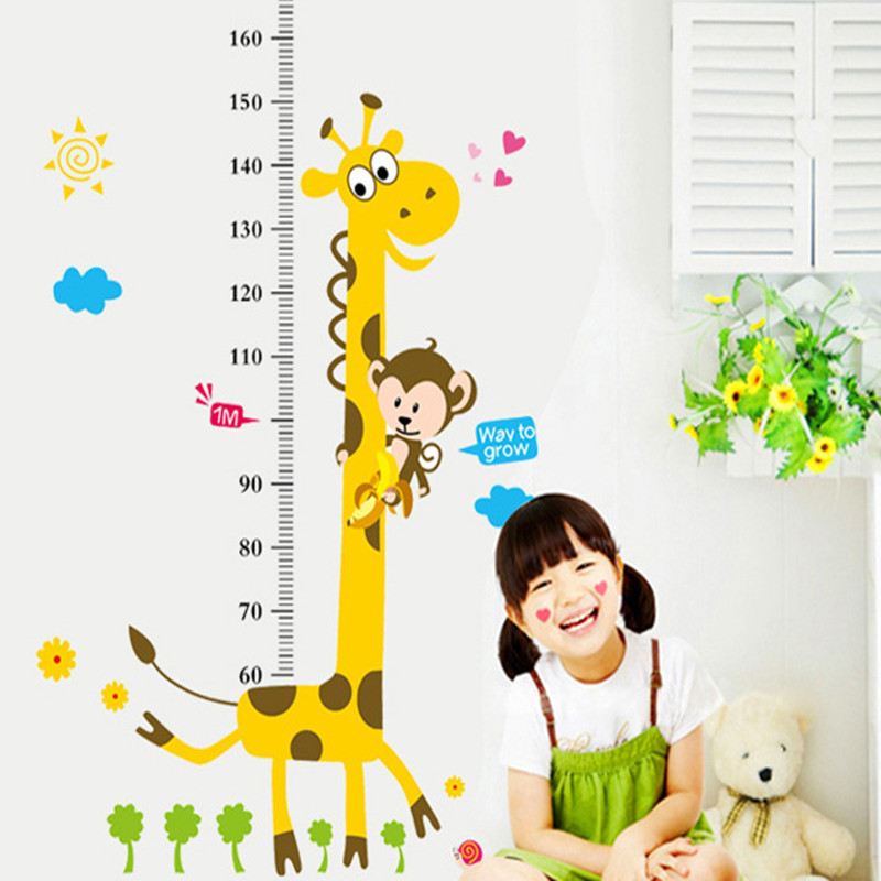 Fëmijët Lartësia Grafike Sticker Dekor Cartoon Giraffe Heil Ruler - Dekor në shtëpi - Foto 2