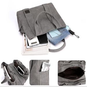 Image 4 - Woman Canvas Handbags Casual lady Big Capacity Shoulder Bags Girls Crossbody Pack Vintage Solid Multi pocket Ladies Totes Bolsas