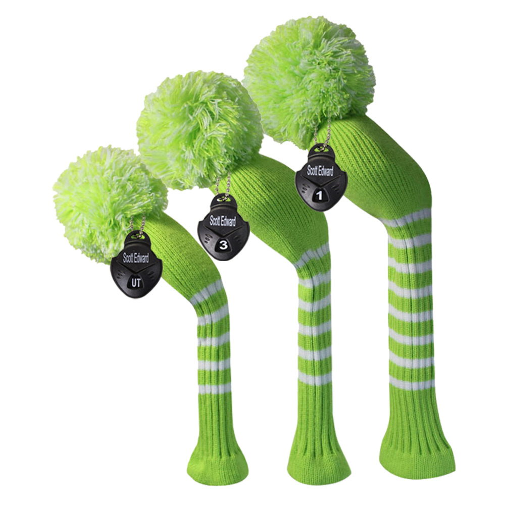 Lime Green Knit Golf Headcover set of 3 for Driver Wood, Fairway, Hybrid, Handmade Craftmanship, Golf Gift.