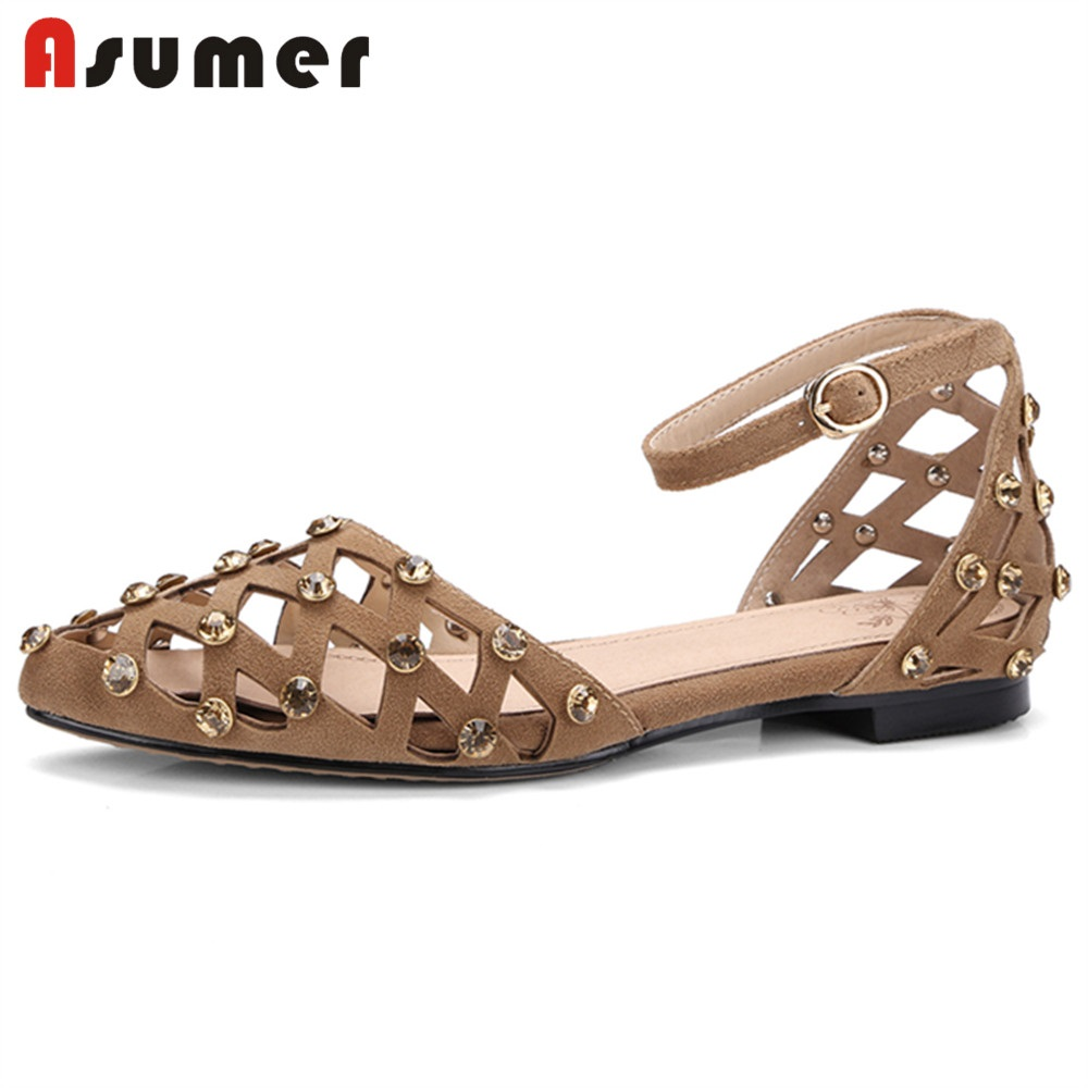 ASUMER Sandals Rhinstone Buckle Cover-Heels Casual-Shoes Flat Fashion Women HOT Kid Suede