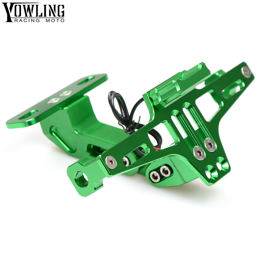 Motorcycle Accessories CNC License Plate Mount Holder with LED Light For Kawasaki Ninja 1000 1000R 250 250R 300 300R 400R 650 laser logo ninja for kawasaki ninja 400r 2011 adjustable cnc folding extendable blue