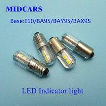 MIDCARS High Quality 6V T4w Ba9s E10 LED Indicator light 36V Bulb,BAY9S 12V SMD LEDs 48V Light, Rear 24V to 60V Bulb